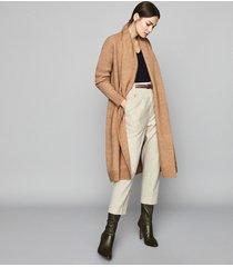 reiss willow - longline ribbed knit cardigan in camel, womens, size xxl