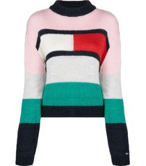 tommy jeans colour-blocked jumper - pink