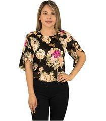 elvira burgos - blusa para dama elegante de moda en seda- ref 77131909– negro