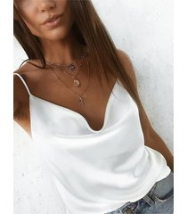 yoins camisa de satén blanco satinado y drapeado