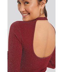 na-kd party open back glittery body - red