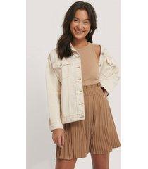 na-kd paper waist mini skirt - beige