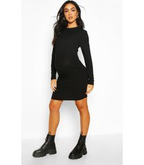 maternity crew neck basic bodycon dress, black