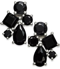 black sapphire cluster stud earrings (5-1/2 ct. t.w.) in sterling silver