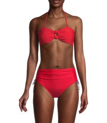 petal and sea by pq women's double knot bandeau bikini top - coral - size m