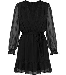 ruches jurk deluxe zwart