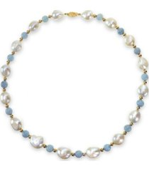 """white freshwater cultured pear (11-12mm) with blue aquamarine (8mm) and gold beads (4mm) 18"""" necklace in 14k yellow gold"""