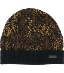 saint laurent leopard pattern beanie - brown