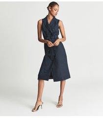 reiss dana - linen blend midi dress in navy, womens, size 14