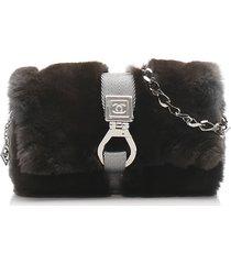 chanel fur chain shoulder bag brown, dark brown, gray sz: m