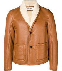 saint laurent sheepskin lining jacket - brown