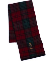 polo ralph lauren men's toggle bear plaid scarf