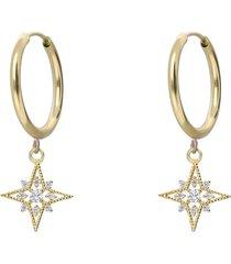 orecchini a cerchio in oro giallo e strass con rosa dei venti per donna