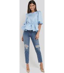 na-kd trend destroyed mom jeans - blue