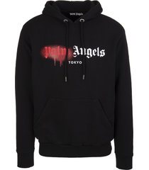 palm angels man black and red tokyo logo spray hoodie