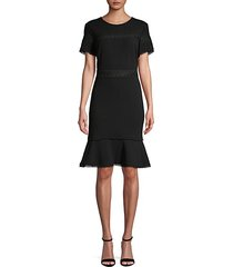 short-sleeve lace-trim sheath dress