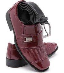 kit sapato social infantil bico quadrado confortável + cinto - masculino