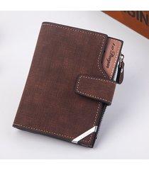 mini billetera/ billetera vertical de la hebilla de-marrón