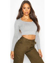basic long sleeve crop top, grey marl