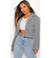petite cropped popper front jacket
