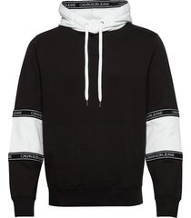 blocking logo tape hoodie hoodie trui zwart calvin klein jeans