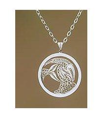 sterling silver filigree pendant necklace, 'elegant capricorn' (indonesia)