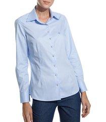 camisa dudalina manga longa tricoline fio tinto recorte ombro feminina (listrado, 46)