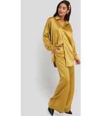 na-kd party wide leg satin pants - yellow