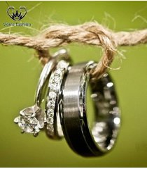 10k white gold his and hers mens womens diamond engagement wedding ring trio set