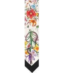 women's gucci flora snake silk scarf, size one size - ivory