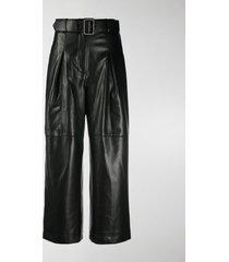 self-portrait wide leg faux-leather trousers