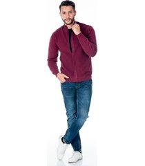 suéter tejido vinotinto para hombre con cremallera de solapa con boton y bolsillos laterales