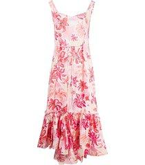 pink tropical flower print dress