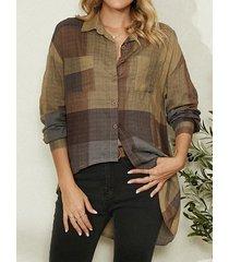 camicetta asimmetrica da donna con collo a bavero a maniche lunghe scozzese vintage