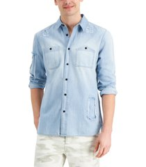 sun + stone men's julian regular-fit distressed denim shirt, created for macy's