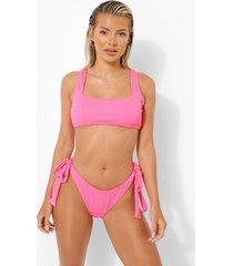 geribbeld laag uitgesneden bikini broekje met zijstrikjes, pink