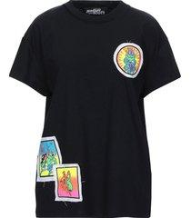 jeremy scott designer t-shirts & tops, black cotton women's t-shirt w/patches