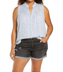 plus size women's treasure & bond sleeveless pleated top, size 1x - blue