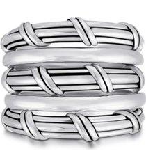 hudson stacked fan ring in sterling silver