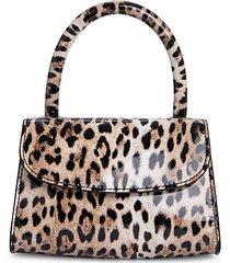 mini animal-print leather satchel bag