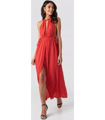 trendyol rope suspender maxi dress - red