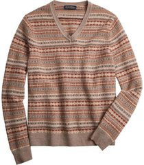 sweater lambswool fair isle v-neck café brooks brothers