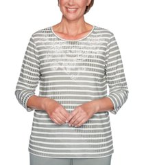 alfred dunner loire valley embroidered striped top