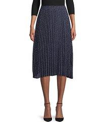 dot-print pleated skirt