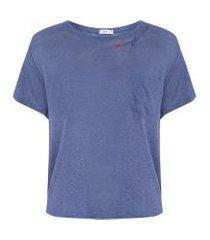 t-shirt bordado good vibes - azul