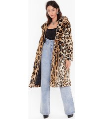 womens this is your meow-ment faux fur leopard coat - beige