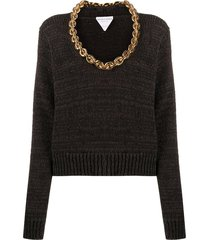 chain-link cotton knit jumper