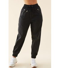 black zip design stretch waistband bottoms