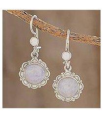 jade flower dangle earrings, 'lilac dahlias' (guatemala)