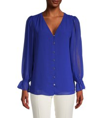calvin klein women's sheer-sleeve blouse - klein blue - size xs